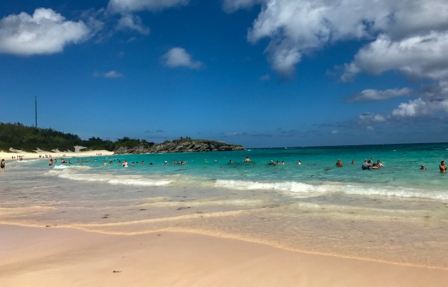 Horseshoe Bay Beach is one of the best beaches in Bermuda, but also the most crowded. This photo is during a weekday towards the end of summer in September.