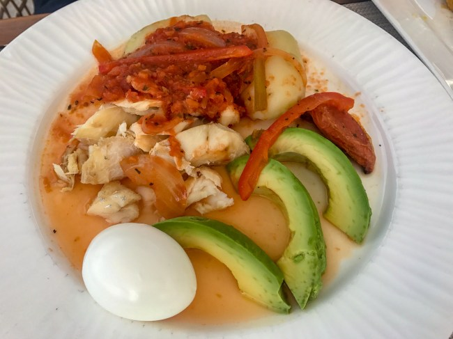 The traditional Bermudian codfish breakfast dish. It is typically only prepared on Sunday, but Aqua Terra at The Reefs Resort & Club serves it for breakfast every day.