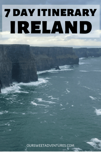 I have the perfect 7 days in Ireland itinerary which includes things to do almost every hour to break apart the drive. From castles to ruins, waterfalls, abbeys, filming locations, chocolate, ice cream, the Cliffs of Moher, Giants Causeway and more. You will find everything you need in my post.