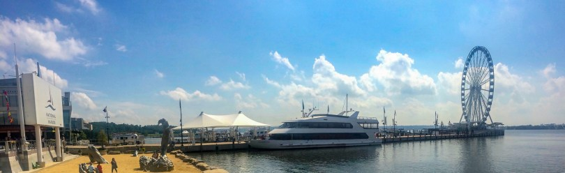 Panorama of National Harbor, Maryland. A stunning waterfront minutes away from Washington D.C.