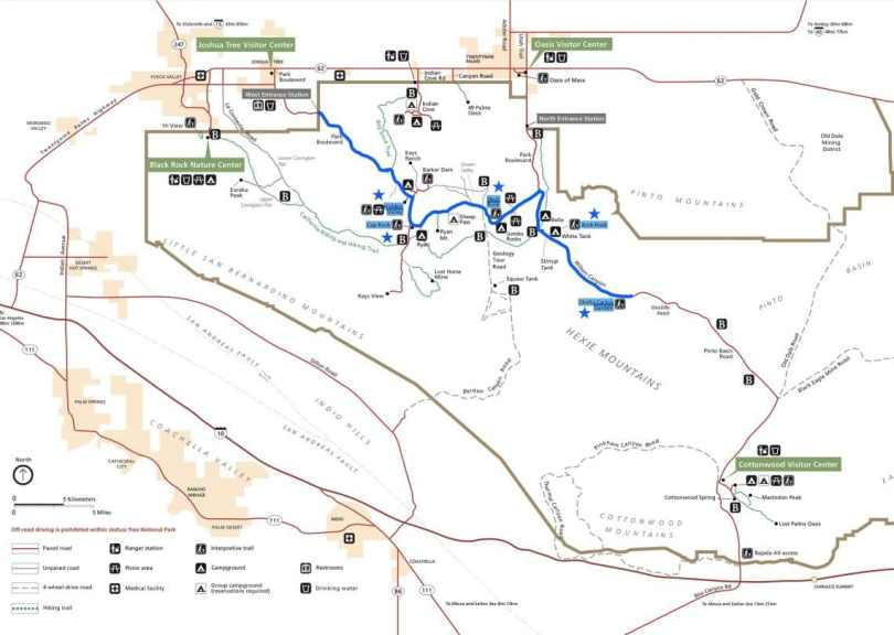 A marked map to route the best things to see in Joshua Tree National Park.
