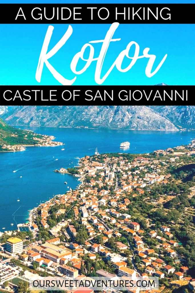 "Rows of redtop houses along the ocean in Kotor with text overlay ""A Guide to Hiking Kotor Castle of San Giovanni""."