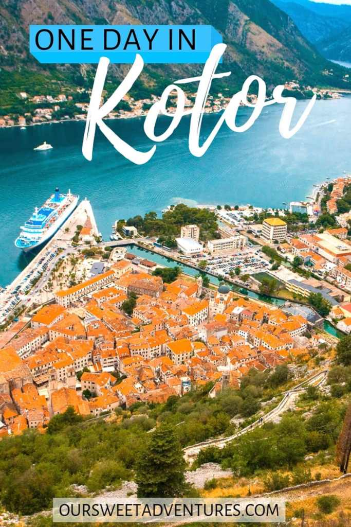 "Red roof top houses sitting close together making the shape of a triangle on the Bay of Kotor with a cruise ship docked at the port and a text overlay ""One Day in Kotor""."
