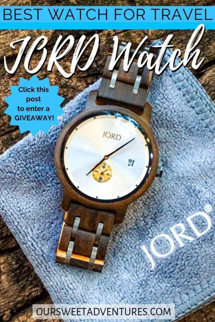 "A wooden watch laying on a blue cloth with text overlay ""Best Watch for Travel JORD Watch"""