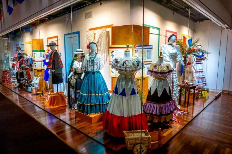 A display of authenticate dresses from across the Americas that can only be found at the Costumes of Americas Museum in Brownsville, Texas.