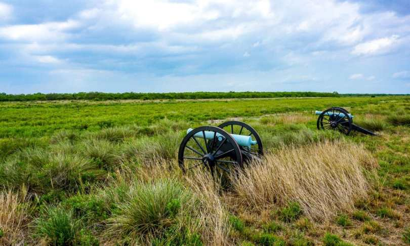 Two green cannons facing out into the vast green pasture at the Palo Alto Battlefield.