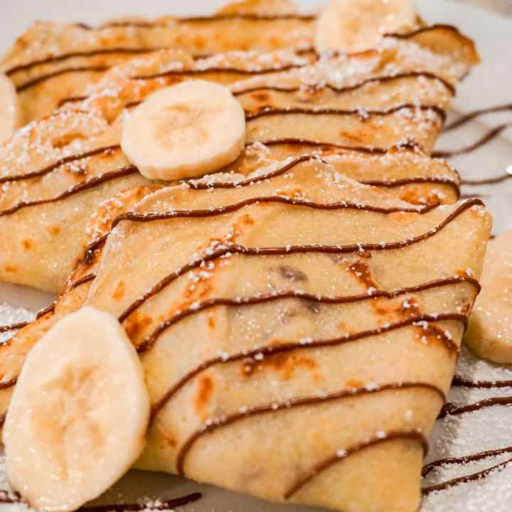 Sweet French Crepes with Banana and Nutella