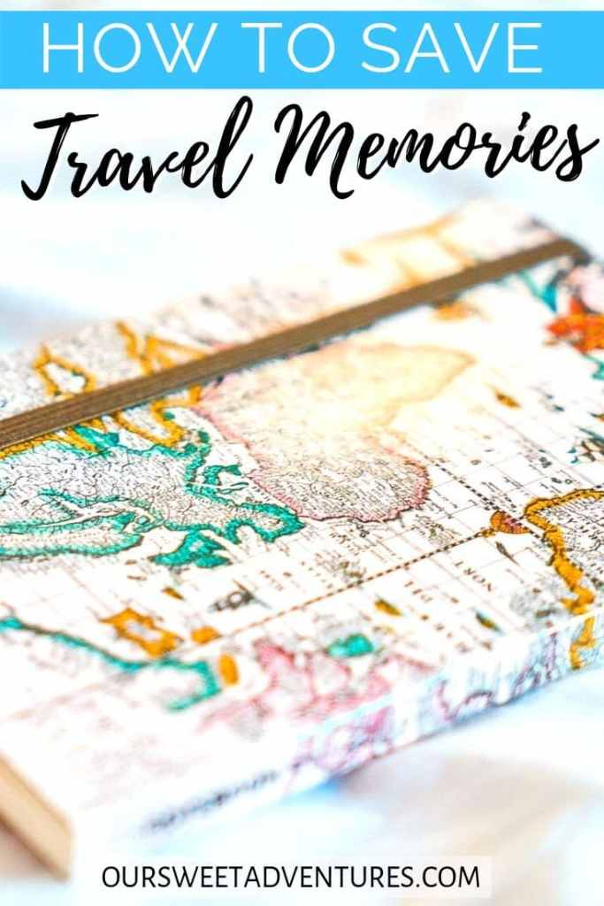 """A journal with a map as the cover with text overlay """"how to save travel memories""""."""