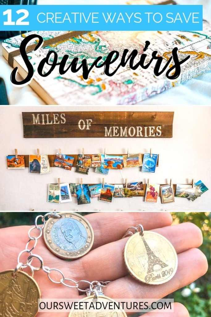 """A collage of photos. The top photo is a journal. The middle photo is a wall with postcards. The bottom photo is a hand holding coin jewelry. Text overlay """"12 creative ways to save souvenirs"""""""