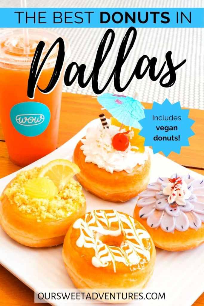 "A pin image of a plate full of colorful donuts. Text overlay ""The best donuts in Dallas. Includes vegan donuts."""