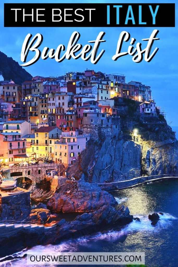 """A nighttime photo of Cinque Terre with text overlay """"The best Italy Bucket List""""."""