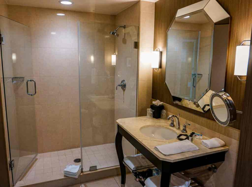 A large bathroom from Sheraton McKinney of the shower and sink.