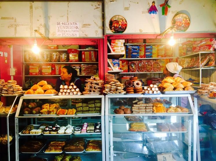 Cakes galore in the market in La Paz.