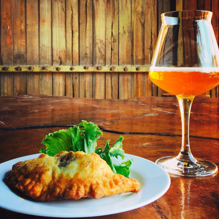 Llama Empanadas washed down with artisanal beer in the desert!