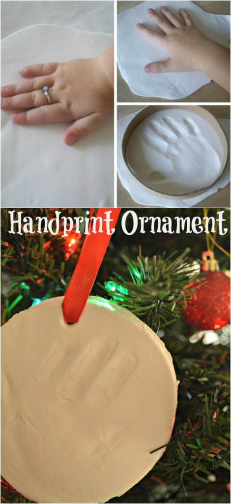 Create your own handprint ornament. It's great for each year, or to send to the grandparents!