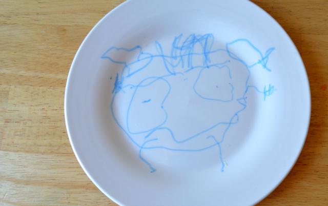monster face on plate