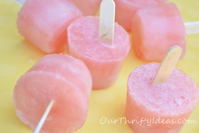Watermelon Limeade pops - perfect healthy treat for your kids during the hot summer months from OurThriftyIdeas.com