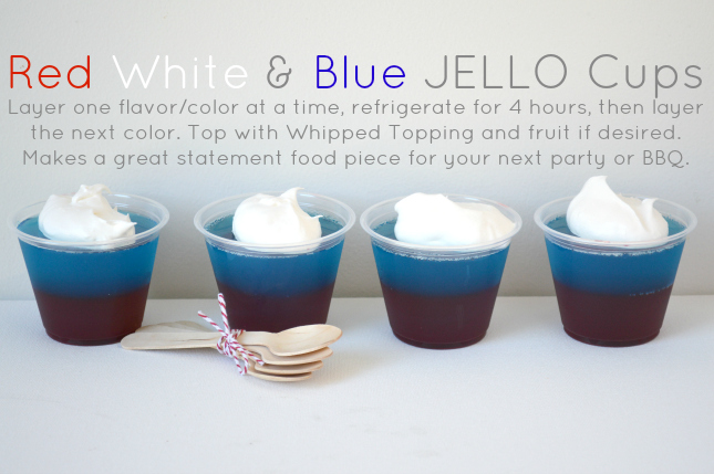 Red, White & Blue Jello - just layer each flavor and refrigerate for 4 hours before adding the next layer. OurThriftyIdeas.com