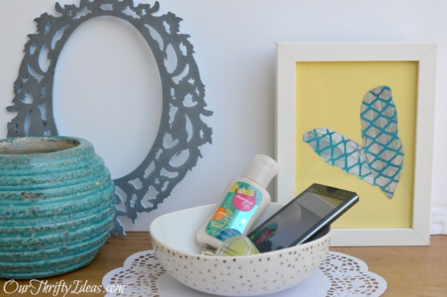 Framed Feather Decor from OurThriftyIdeas.com