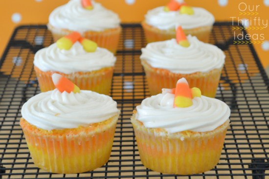 Coloring your white cake batter to make these fun CandyCorn cupcakes. Just layer them before baking and cook as usual.