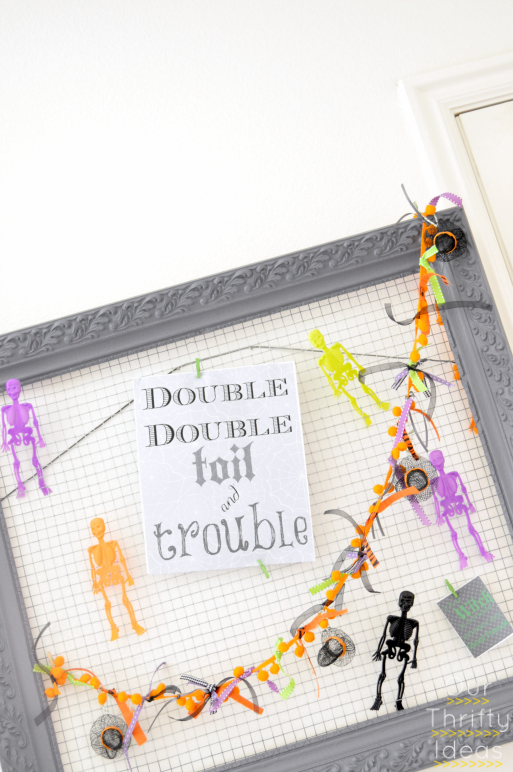 Halloween decor, clip things up to the chicken wire and switch it out for each holiday