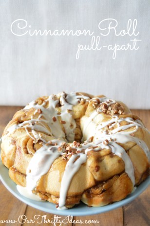Cinnamon Roll Pull Apart with LandOLakes butter | www.ourthriftyideas.com #holiday #dessert #holidaybutter #shop