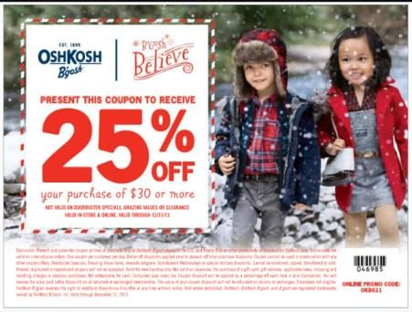 Osh Kosh B'gosh 25% off coupon