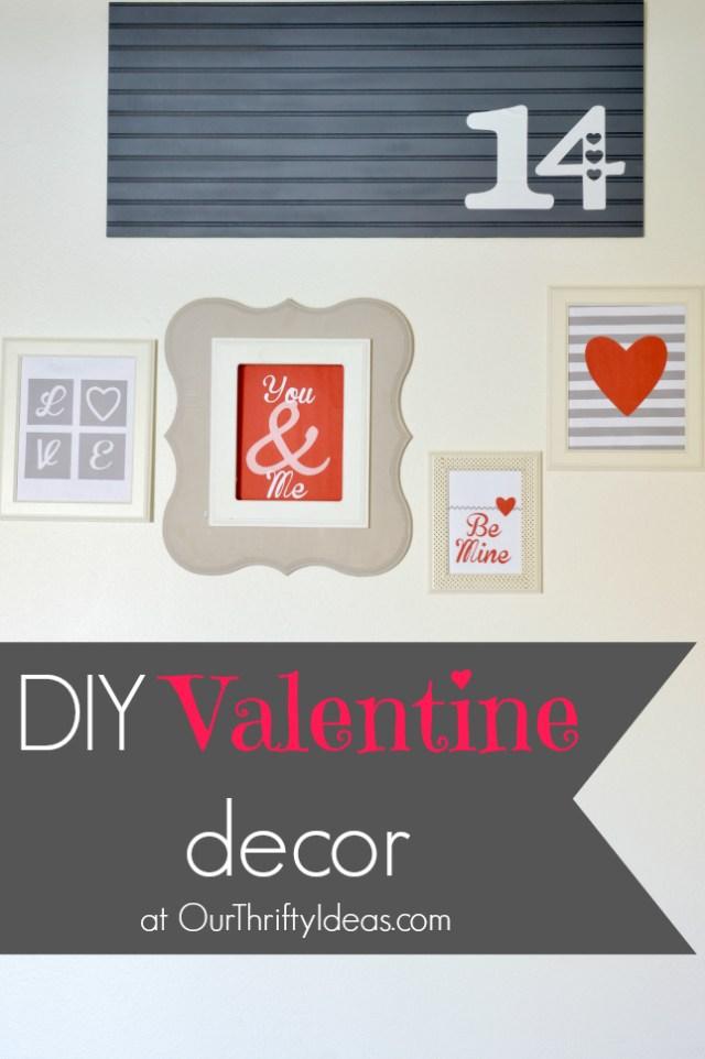 DIY Valentine Decor 14 sign on beadboard | www.ourthriftyideas.com