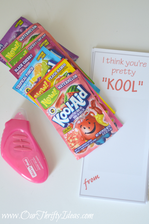 "I think you're pretty ""KOOL"" free Valentine Printable from www.OurThriftyIdeas.com 