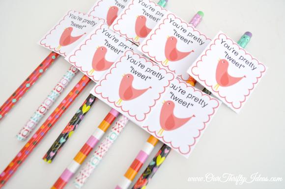 free printable valentine - your pretty tweet - bird - pencil topper