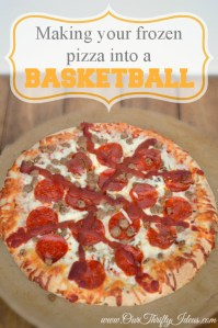 turn a freezer pizza into a basketball for your sports party | www.ourthriftyideas.com #basketball #food #sports #GoodtimeGoodies #shop #cbias