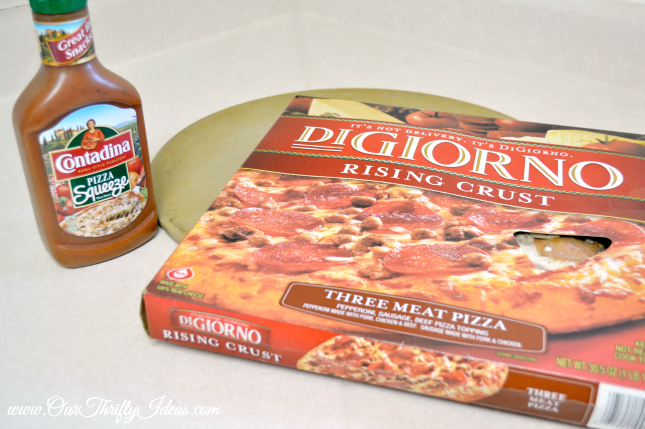 turn a freezer pizza into a basketball for your sports party   www.ourthriftyideas.com #basketball #food #sports #GoodtimeGoodies #shop #cbias
