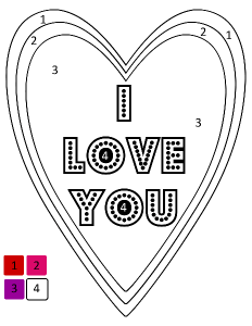 I love you - color by number printable