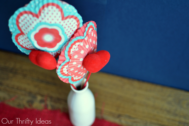 Valentines Day table decor from cupcake liners and dowels