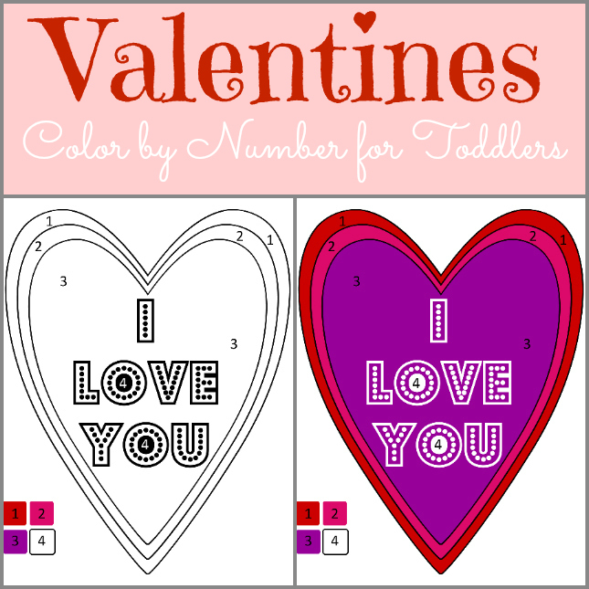 color by number toddler valentine | www.ourthriftyideas.com #toddler #homeschooling #education #valentines