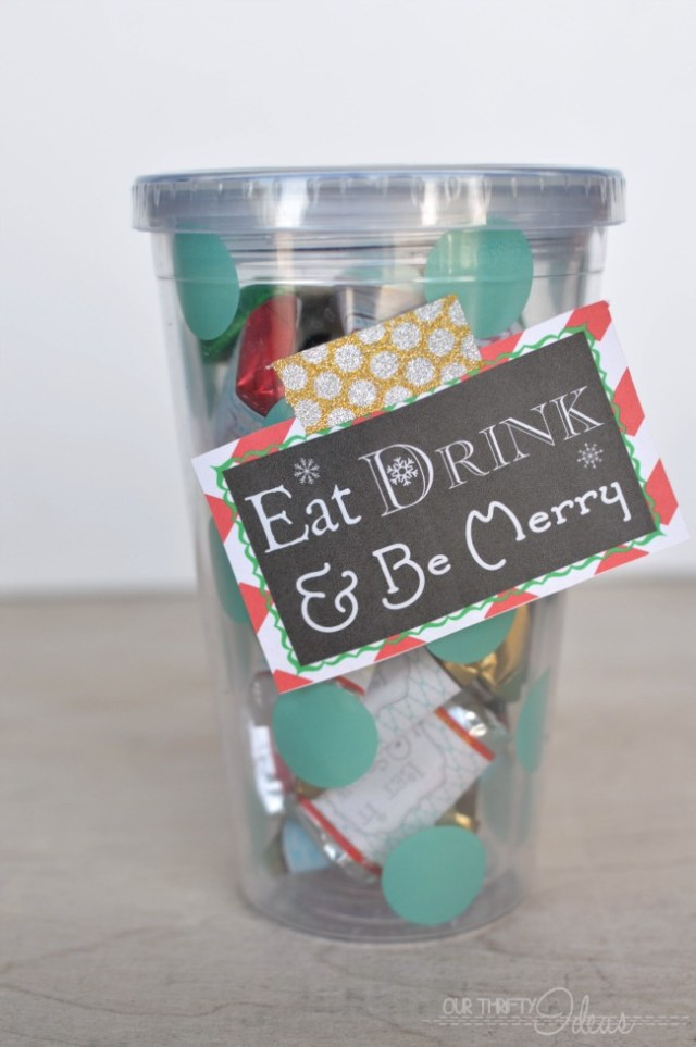 Give the gift of a new cup (a favorite drink gift card) and chocolates. Every girl's favorites!