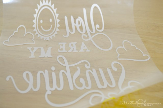 """DIY pillow covering with """"You are my sunshine"""" saying on it."""