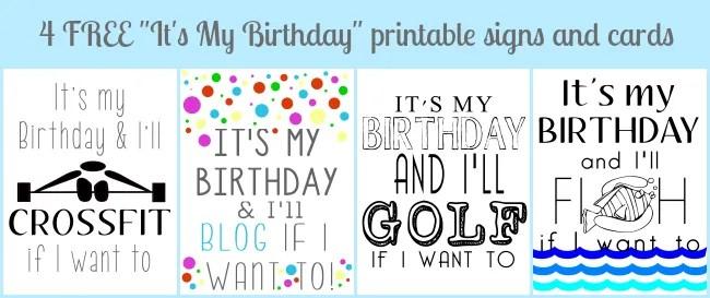 4 free It's My Birthday printables