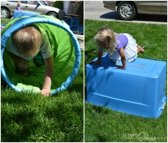 obstacle course for young kids. A great way to keep them active during the Summer