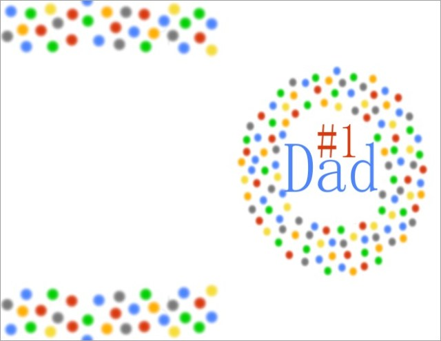 #1 Dad printable Fathers Day card