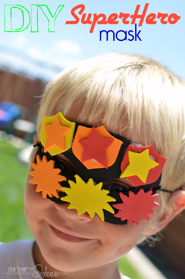 DIY superhero mask from craft foam. Let the kids use their imagination and create new superheros every day.