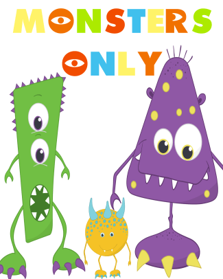 MONSTERS ONLY - free party printable pack