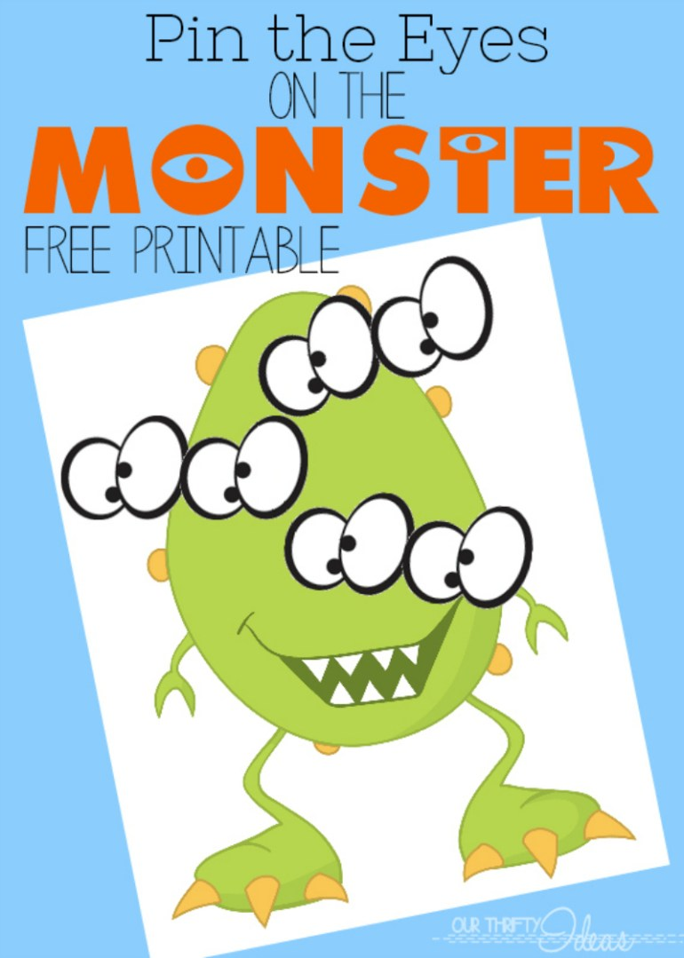 PIN THE EYES ON THE MONSTER - FREE PARTY PRINTABLE ACTIVITY