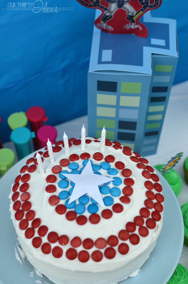 captain america cake decorated with M&Ms