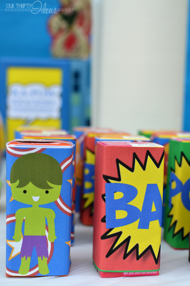 juice box and water bottle wrappers for a super hero party