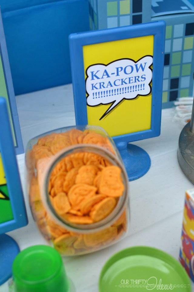 ka-pow krackers for a super hero party