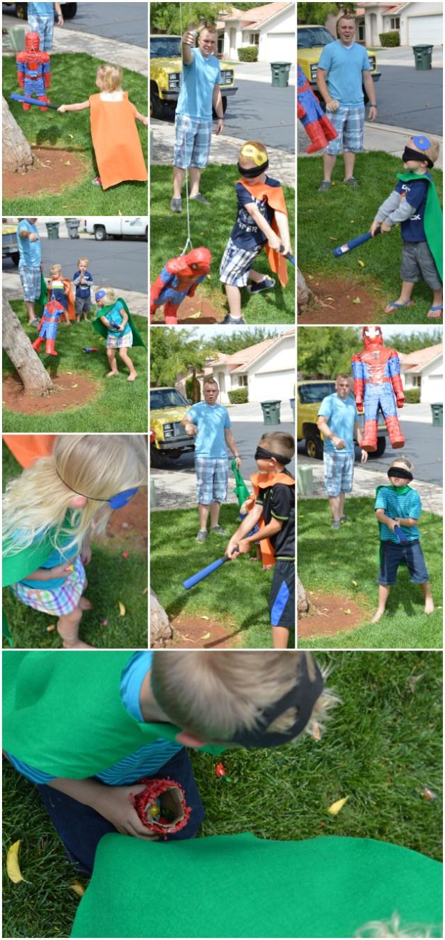 spiderman piniata at a superhero party