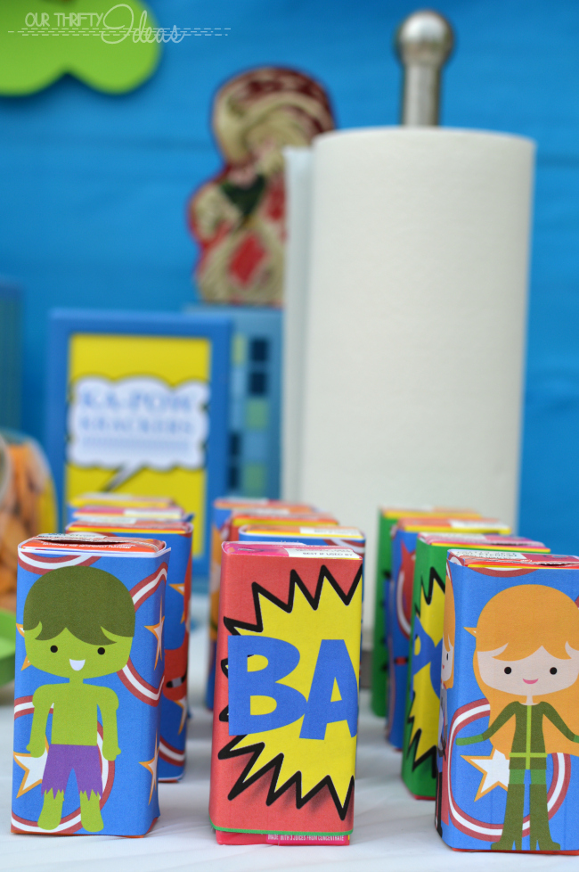 water and juice box wrappers for a super hero party