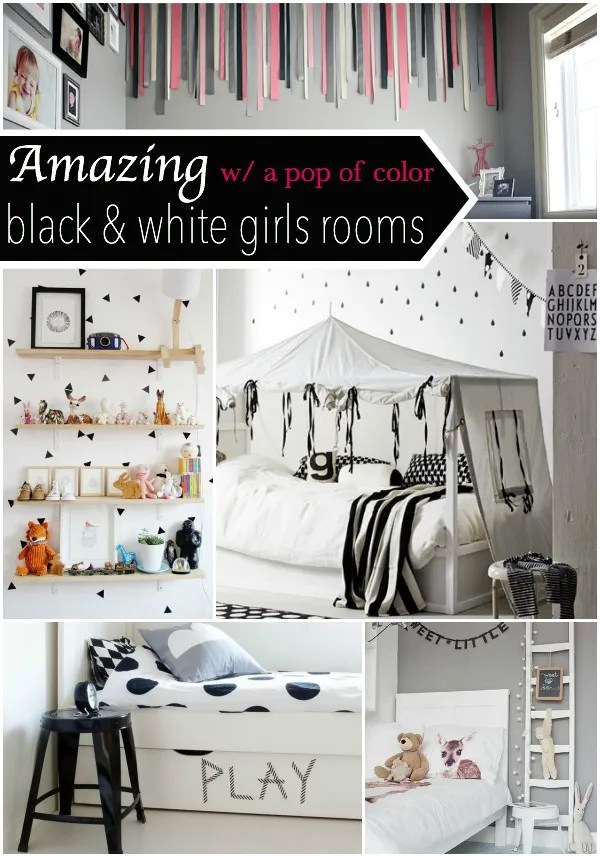 these are the cutest little girls room. I love the black & white with a pop of color theme