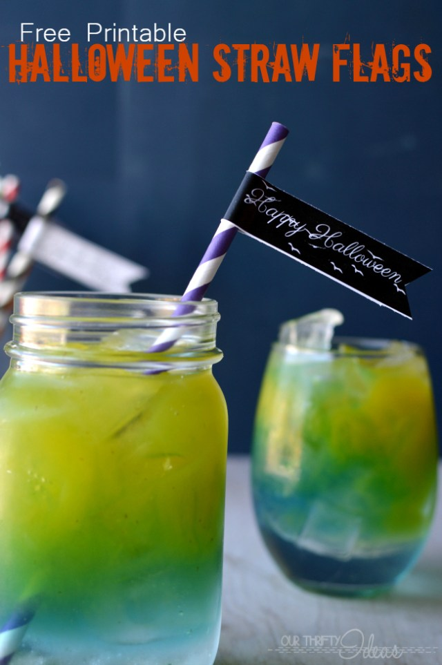 free printable straw flags - perfect way to dress up the food for Halloween